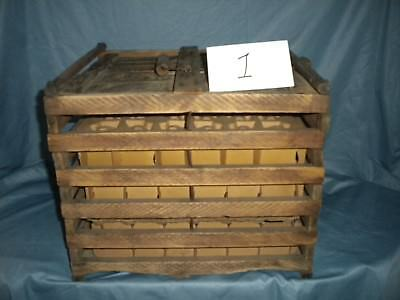 VINTAGE ANTIQUE WOOD FARM EGG CRATE CARRIER CARDBOARD DIVIDERS Farmhouse