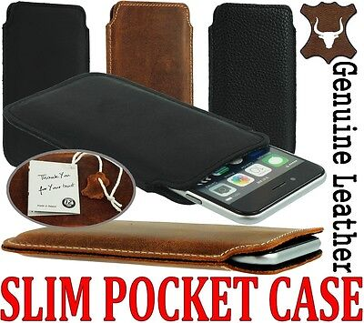 Slim 3C Genuine Leather Pocket Pouch Case Cover Sleeve For Samsung Galaxy Phone