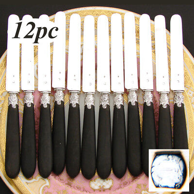 "Antique French 12pc nearly sterling Silver & Ebonized Wood Handle 8"" Knife Set"