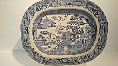Antique English Staffordshire Blue and White Platter  14 x 11 #2
