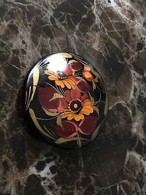 Vintage Hand Painted Singed Flower Beautiful  Russian Brooches Lacquer Pinback