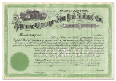 Syracuse Chenango and New York Railroad Company Stock Certificate