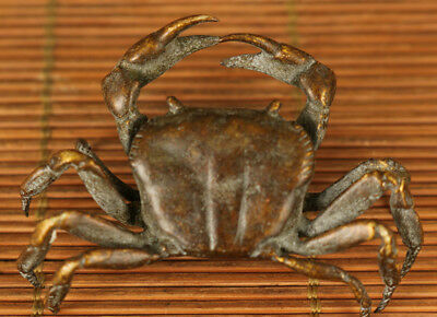 delicate chinese Old bronze hand carving crab statue figure