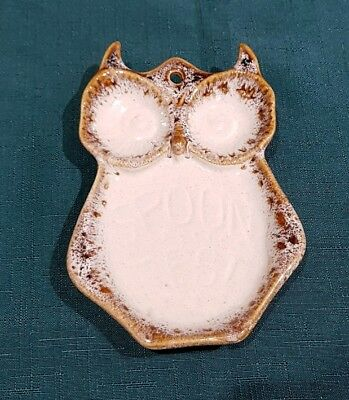 FOSTERS POTTERY Cornwall Honeycomb Hanging Owl Spoon Rest Vintage Retro