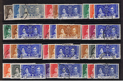 CORONATION of GEO VI & ELIZABETH - 48 Used SETS From 1937 - 144 Diff. Stamps