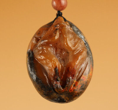 Chinese tibet Pendant agate jade Hand Carved Door Lift Statue lucky gift  0808