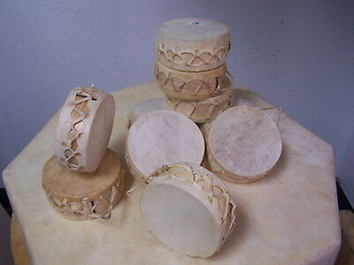 "Set Of 10 Rawhide Mini Drums,4""real Hide,wholesale,hand Crafted,crafts,southwest"