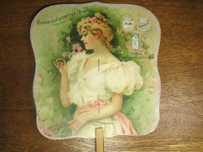 Antique Advertising Fan Borden's Condensed Milk Co. Young Woman Holding Flowers