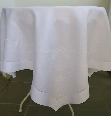 """Dainty White Embroidered Irish Linen Vintage Tablecloth High Tea Gift 43 x 44"""""""