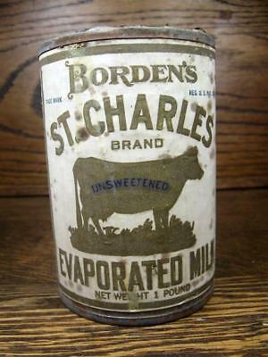 Vintage 1920s BORDEN'S ST. CHARLES EVAPORATED MILK Tin with Paper Label 1 lb