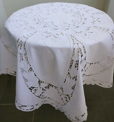 Exquisite Madeira Embroidered Vintage Tablecloth Natural Linen 125 x 120cm H Tea