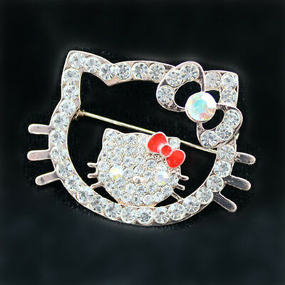 Fashion Jewelry Pins with White Crystal cat head Brooch In Crystal