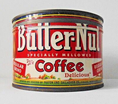 Vintage 1950's Butter-Nut Coffee Tin 1 LB. Great Graphics