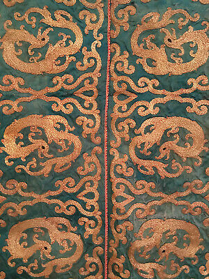 A Rare Chinese Qing Dynasty Large Dragon Textile Panel.
