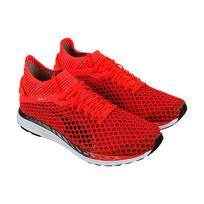 bf45bc643b0 Puma Speed Ignite Netfit 2 Mens Red Mesh Athletic Lace Up Running Shoes