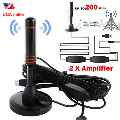 Digital TV Antenna Indoor 200 Miles Range HD 1080P Signal Booster Amplifier HDTV