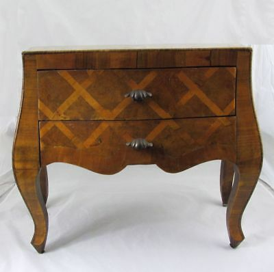"""Antique Miniature Italian Inlaid Olivewood Bombe Chest Commode Dresser 16"""" x 18"""""""