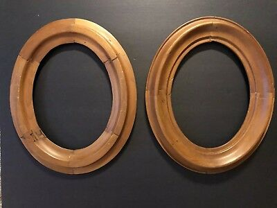 Matched Pair Antique Oval Wood Picture Frames Fit 8 X 10 4250
