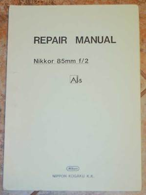 OEM Nikon Nikkor 85mm F2 AI-S AIS Original Factory Service Repair Manual