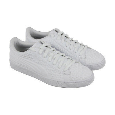 Puma Basket Classic Dia Emboss Mens White Leather Lace Up Sneakers Shoes 501d04e96
