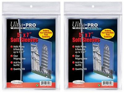 "Ultra Pro 5"" x 7"" Soft Sleeves protection for photos and postcards, 200 count"