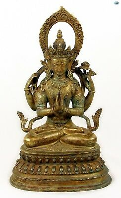 Rare 19th Cent. Antique Large Asian Chinese Gilded Bronze Namaste Buddha Statue