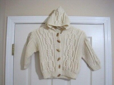 Toddler's Irish Cable Knit Fisherman Hooded Cardigan Sweater Pockets Sz 4-5