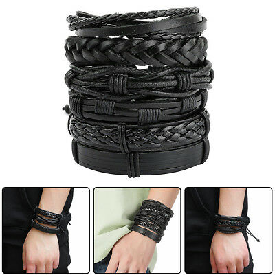 6X Vintage Punk Multi Layers Braided Leather Bracelet Men's Bangle Perfect Gift