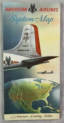 1950s American Airlines System Route Maps Brochure