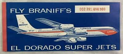 1965 Braniff Airways Dallas Love Field Airlines Ticket El Dorado Super Jets