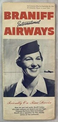 Original Timetable Braniff Airways Sept 26 1954 Stewardess Aviation