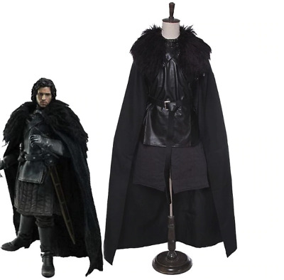 Mens Game of Thrones Jon Snow Costume Medieval Knight Cosplay Song of Ice & Fire