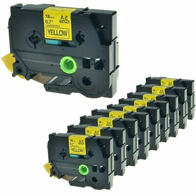 10PK TZ-641 TZe-641 Black on Yellow Label Tape For Brother P-Touch ST-5 18mm 8m