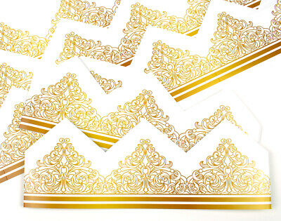 Gold Filigree Crown Adjustable Paper Hats for Crackers - 10 or 25 Pack