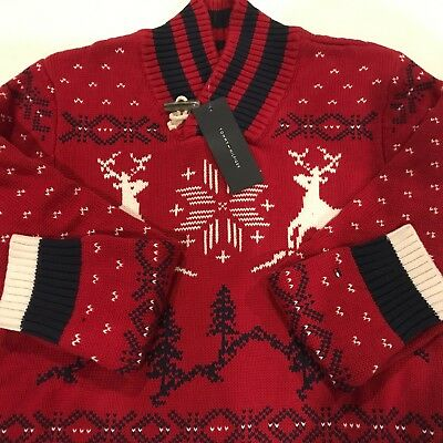 Boys Tommy Hilfiger Red Navy Fair Isle Christmas Holiday Reindeer Sweater size L