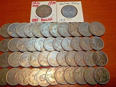 Mixed Lot of Circulated Coins from Hong Kong     One Dollar Coins