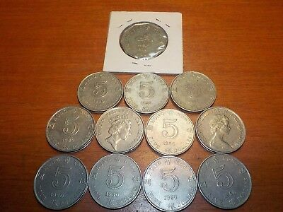 Mixed Lot of Circulated Coins from Hong Kong     Five  Dollar Coins