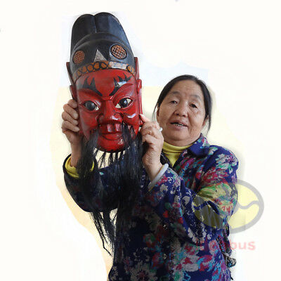 "Wood Hand Carved Painted NUO MASK Walldecor - Zhong Kui(Ghost Catcher) 12.6""tall"