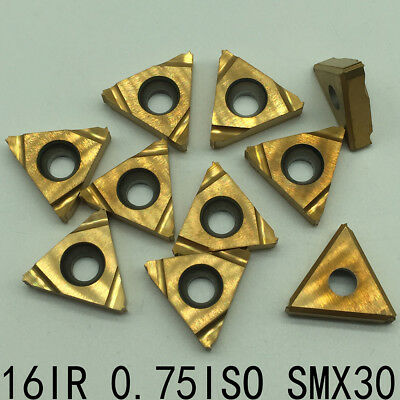 10pcs  16IR 0.75ISO SMX30 Threading Blade CNC Carbide Insert For Stainless Steel