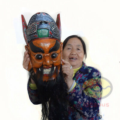 "Wood Hand Carved Painted NUO MASK Walldecor - Zhong Kui(Ghost Catcher) 12.4""tall"