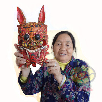 "Chinese Art Wood Hand Carved NUO MASK Walldecor- Shigandang(Gate Deity)12.2""tall"