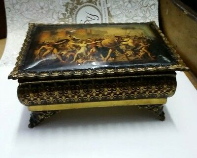 Old Indian Tribal Brass Handcrafted Box Jewelry Box Beautiful Vintage Box