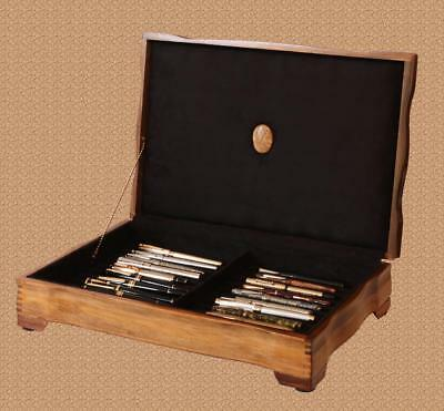 Fountain Pen Storage Display Chest, #678, Hand-Crafted, Walnut,  22 Pens, Usa