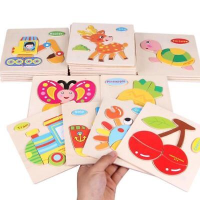 Animals Wooden Blocks Toddler Baby Kids Child Educational Toy Puzzle @ !