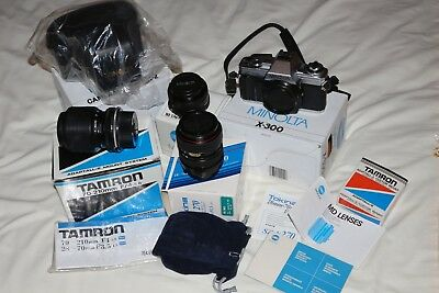 Minolta X-300 35mm SLR + 3 Lenses & Leather Case  All Boxed & MINT