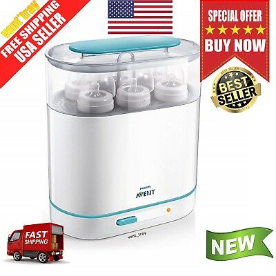 Philips AVENT 3-in-1 Electric Baby Bottle Steam Sterilizer Fits 6 Bottles New
