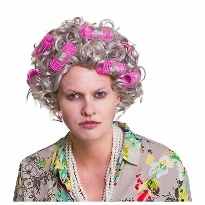 Adult GRANNY WIG WITH ROLLERS Old Lady Nanna Grandma Woman Fancy Dress Stag Hen
