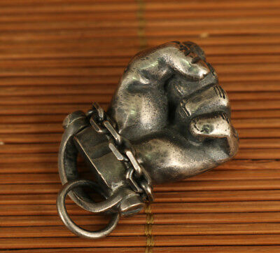 Bardian Cool Fine 925 silver hand carving Cheer gift statue Pendant netsuke