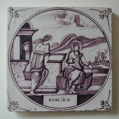 "18th century DUTCH DELFT TILE BIBLICAL ""IOA:4:5 THE SAMARITAN WOMAN"""