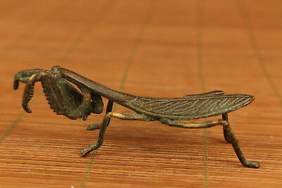 rare Old bronze hand carving Mantis statue figure Noble gift home decoration